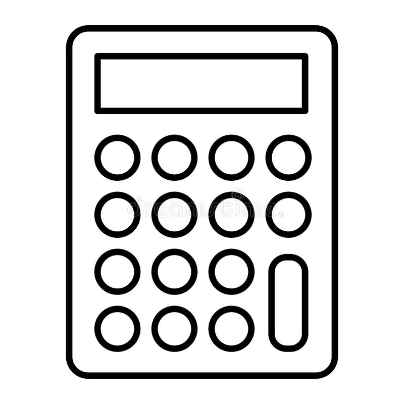 Линия значок калькулятора тонкая Иллюстрация вектора бухгалтерии изолированная на белизне Конструированный дизайн стиля плана мат бесплатная иллюстрация