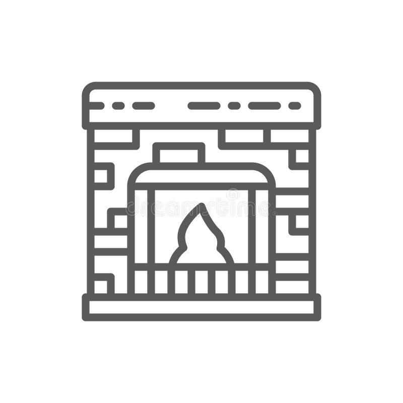 Линия значок камина иллюстрация вектора