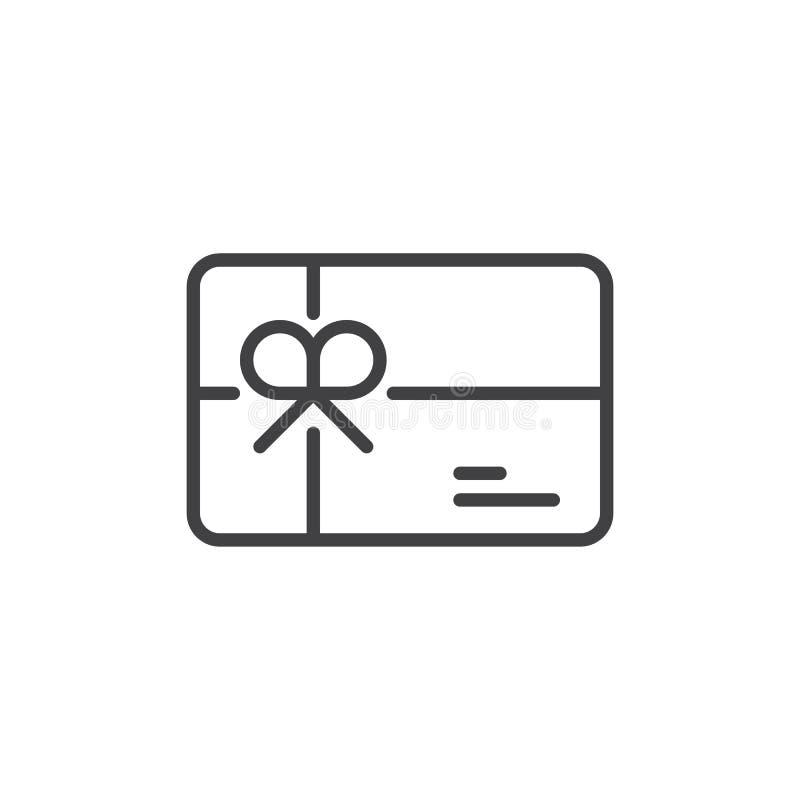 Линия значок карточки подарка иллюстрация вектора