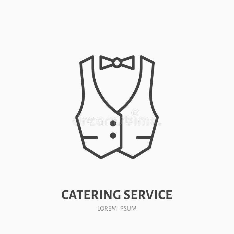 Линия значок кельнера плоская Жилет, профессиональный равномерный знак Тонкий линейный логотип для ресторанного обслуживания иллюстрация штока