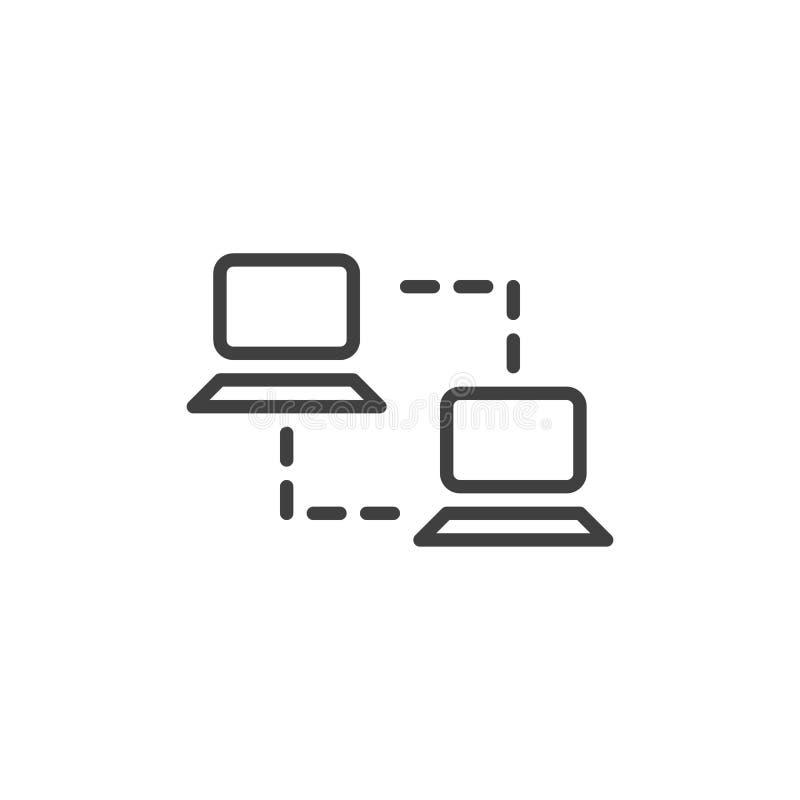 Линия значок компьютерной сети бесплатная иллюстрация
