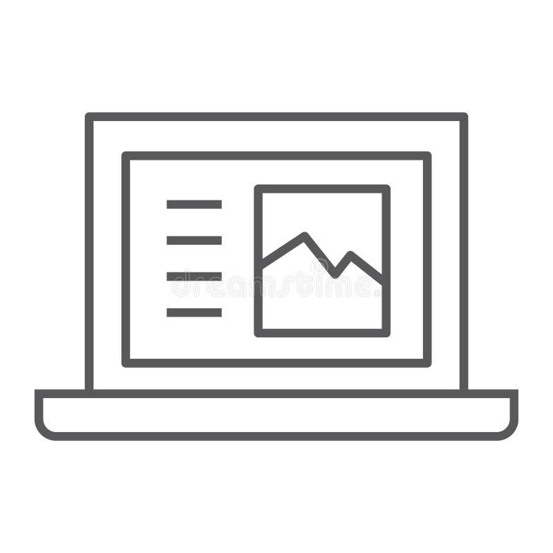 Линия значок, компьютер и цифровое ноутбука тонкая, знак тетради, векторные графики, линейная картина на белой предпосылке иллюстрация штока