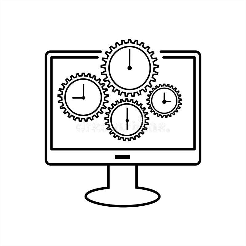 Линия значок контроля времени плоская владение домашнего ключа принципиальной схемы дела золотистое достигая небо к бесплатная иллюстрация