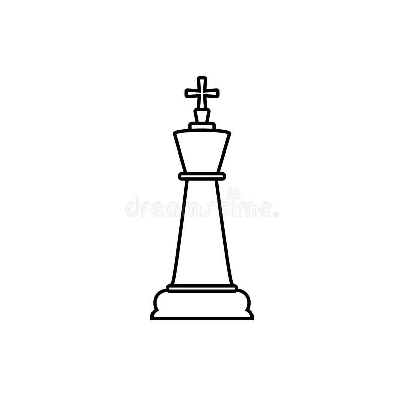 Линия значок короля шахмат Иллюстрация вектора, плоский дизайн бесплатная иллюстрация