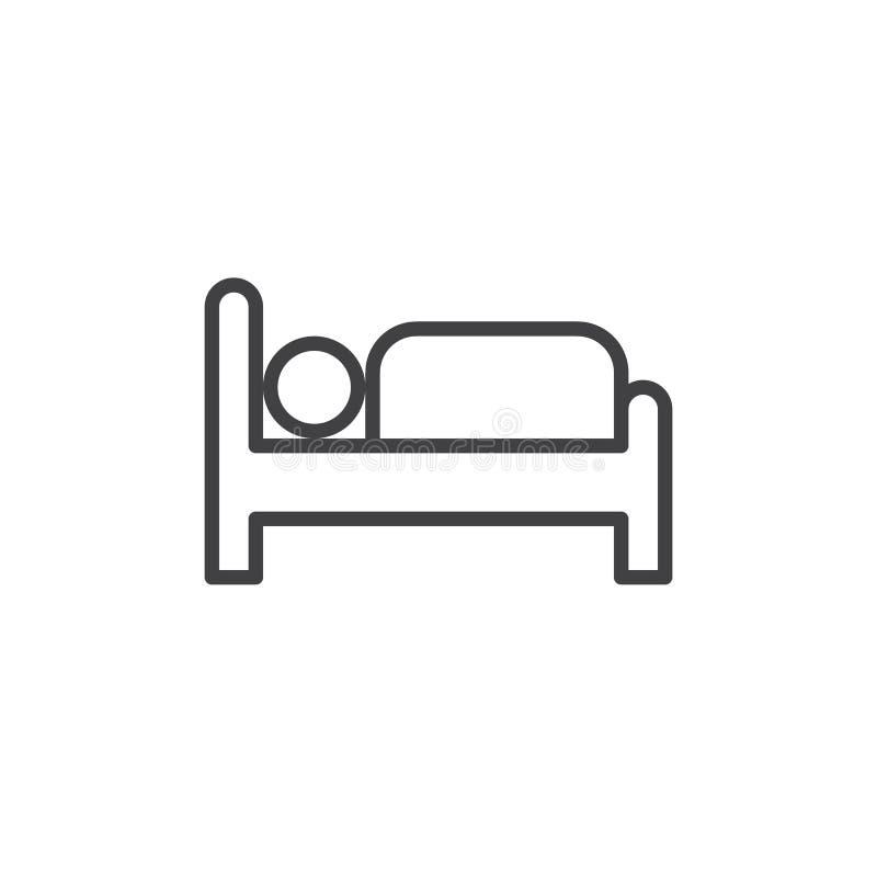 Линия значок кровати гостиницы иллюстрация вектора