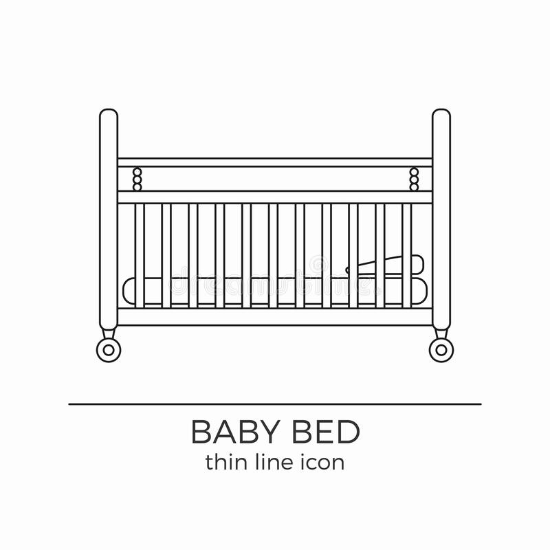 Линия значок кровати младенца иллюстрация вектора