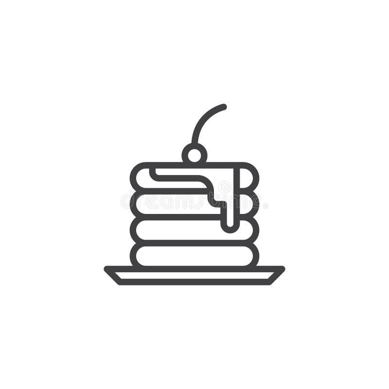 Линия значок куска пирога иллюстрация вектора