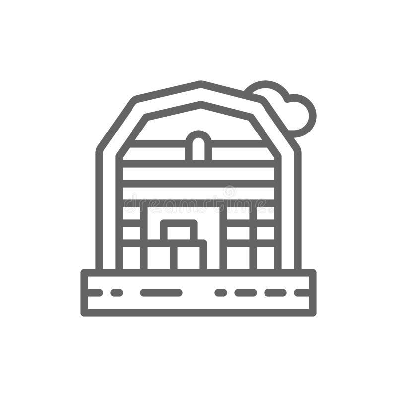 Линия значок ландшафта дома фермы иллюстрация штока
