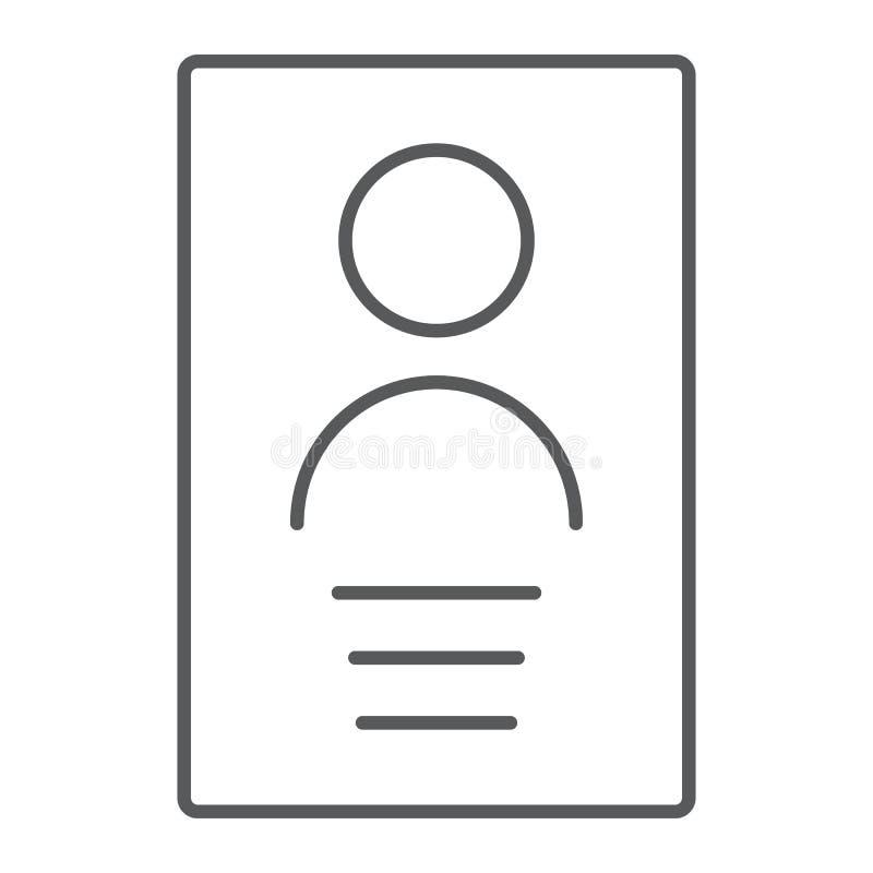 Линия значок личных данных тонкая, файл и информация, знак документа, в иллюстрация вектора
