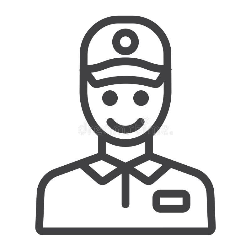 Линия значок, логистический и поставка работника доставляющего покупки на дом иллюстрация вектора