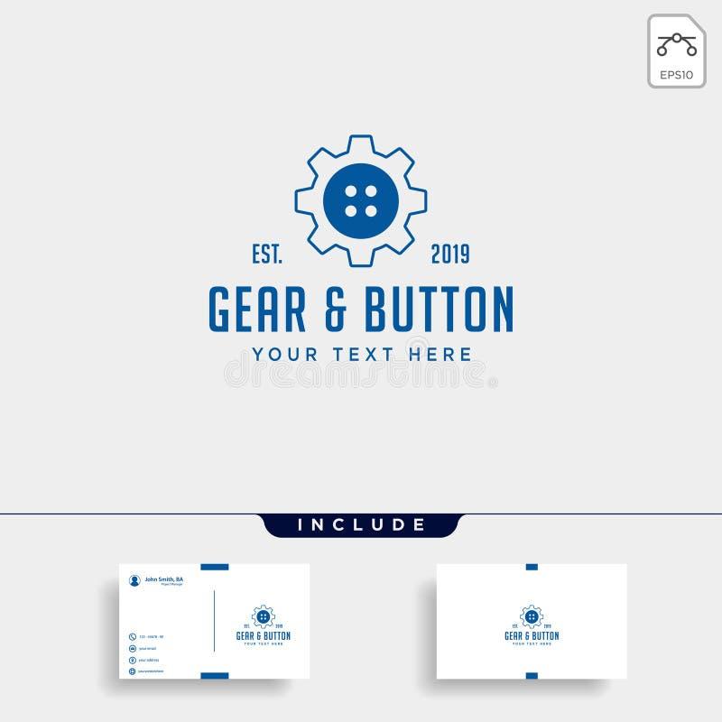 линия значок логотипа кнопки шестерни вектора одежд промышленный изолировала иллюстрация вектора