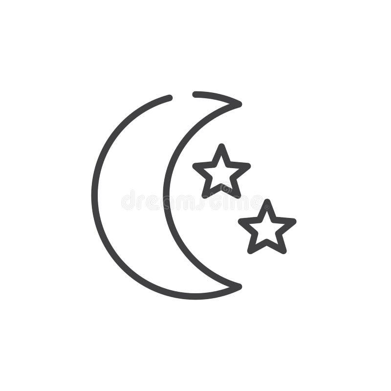 Линия значок луны и звезд бесплатная иллюстрация