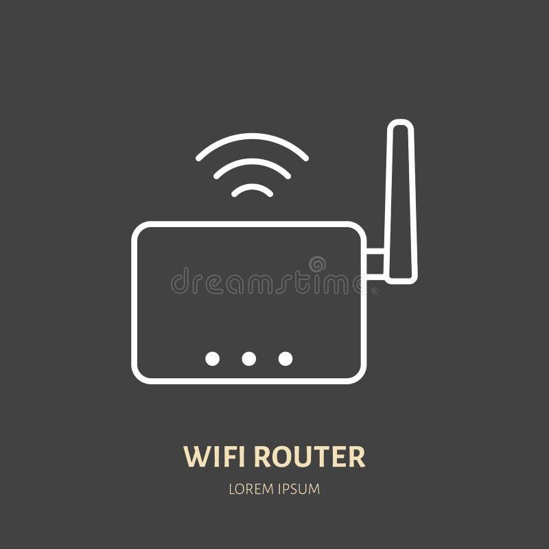 Линия значок маршрутизатора Wifi плоская Беспроводная технология, знак конторских машин Иллюстрация вектора коммуникационных устр бесплатная иллюстрация