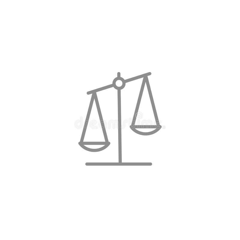 Линия значок масштаба Дело и правосудие vector символ изолированные на белой предпосылке иллюстрация штока