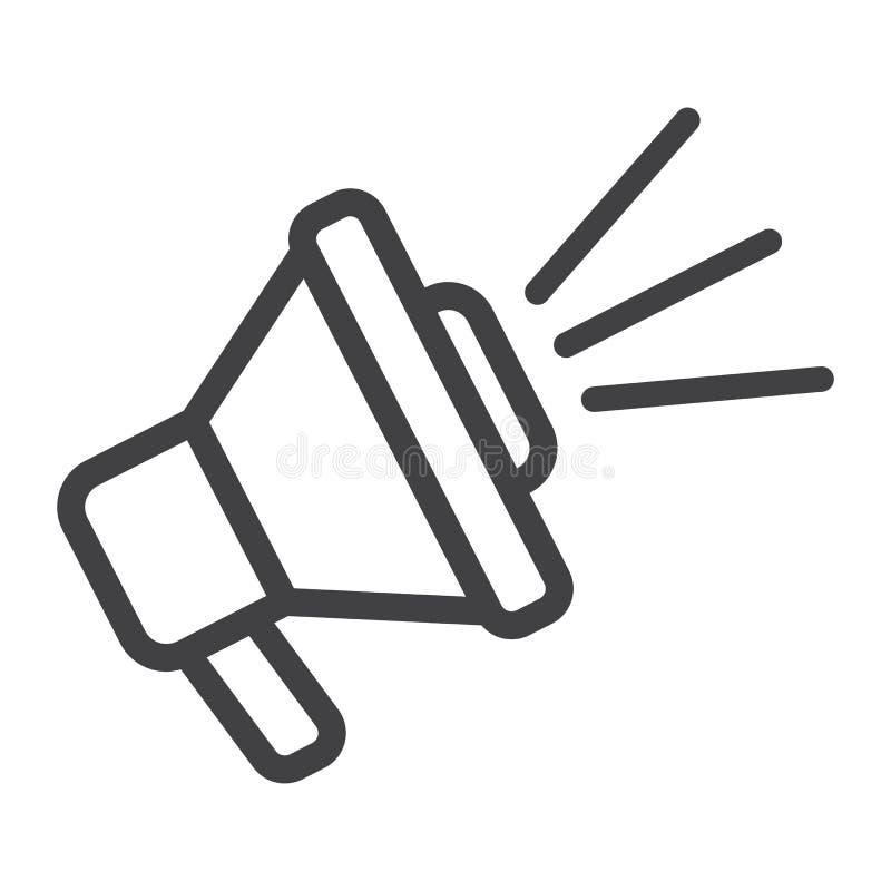 Линия значок, мегафон и вебсайт громкоговорителя иллюстрация вектора