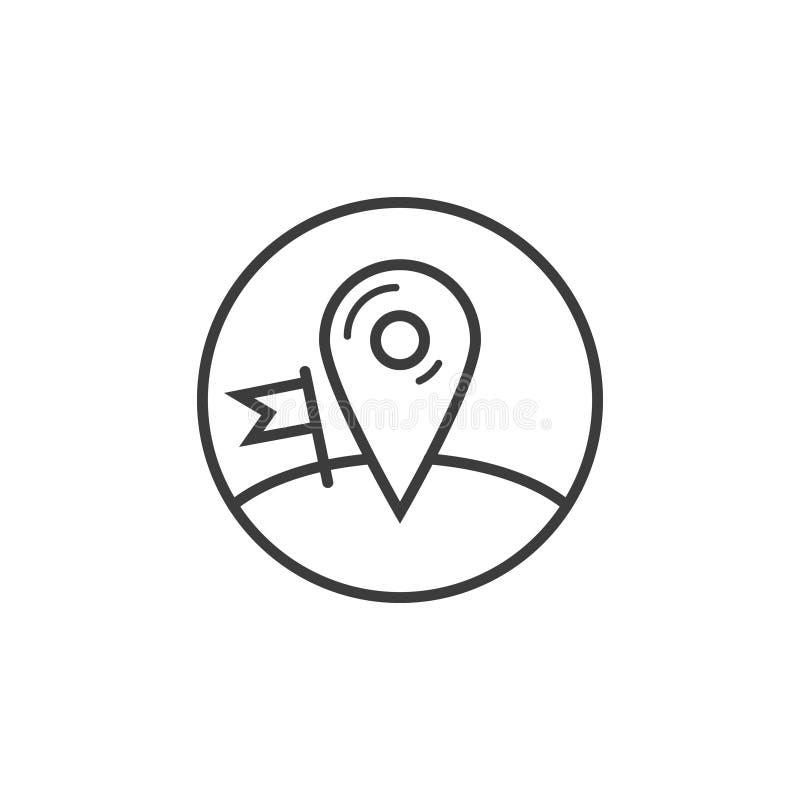 Линия значок метки земли контрольно-пропускного пункта искусства в круглой рамке бесплатная иллюстрация