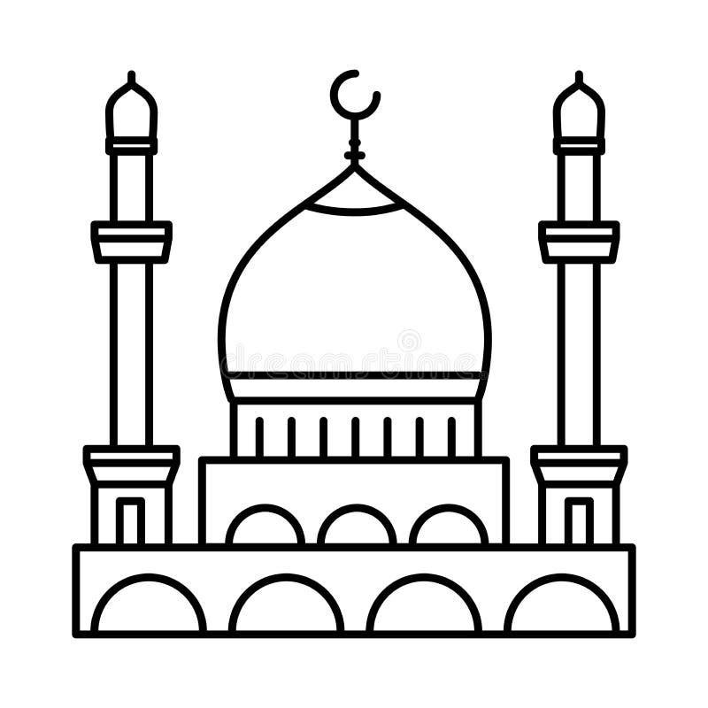 Линия значок мечети - вектор иконический иллюстрация штока