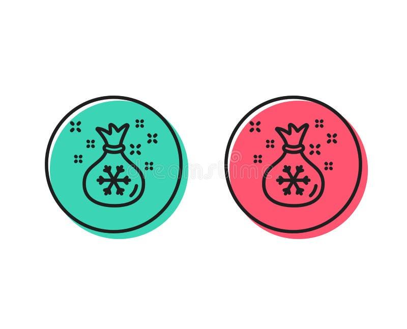 Линия значок мешка Санты Знак рождества или Нового Года вектор иллюстрация штока