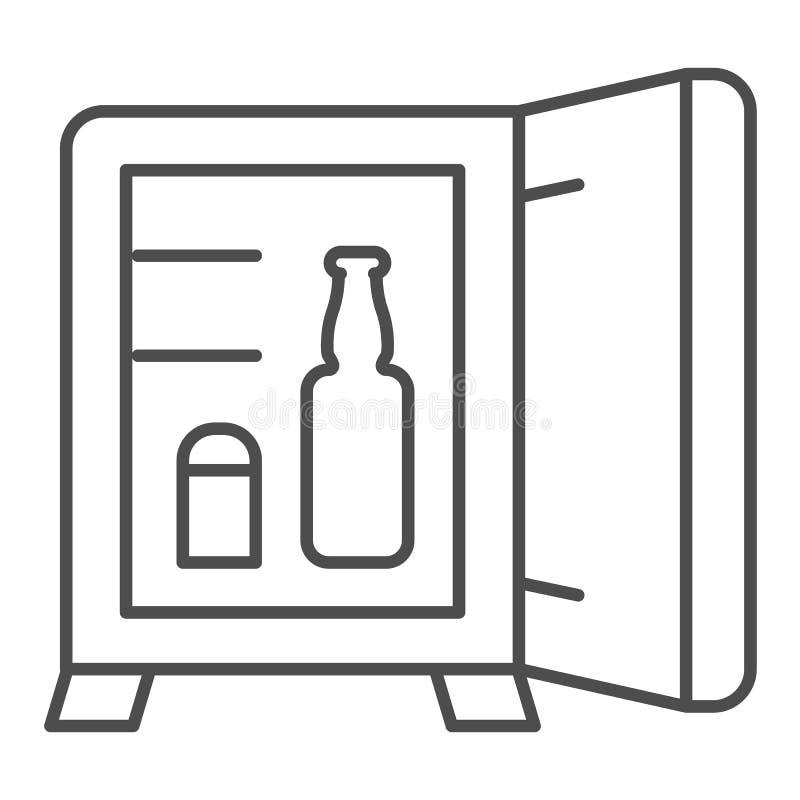 Линия значок мини-бара тонкая Иллюстрация вектора холодильника гостиницы изолированная на белизне Конструированный дизайн стиля п бесплатная иллюстрация