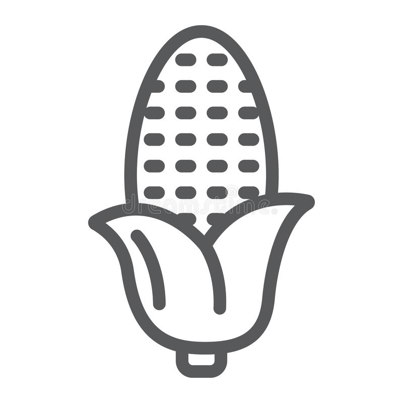 Линия значок мозоли, стержень кукурузного початка и овощ, знак завода, векторные графики, линейная картина на белой предпосылке иллюстрация штока