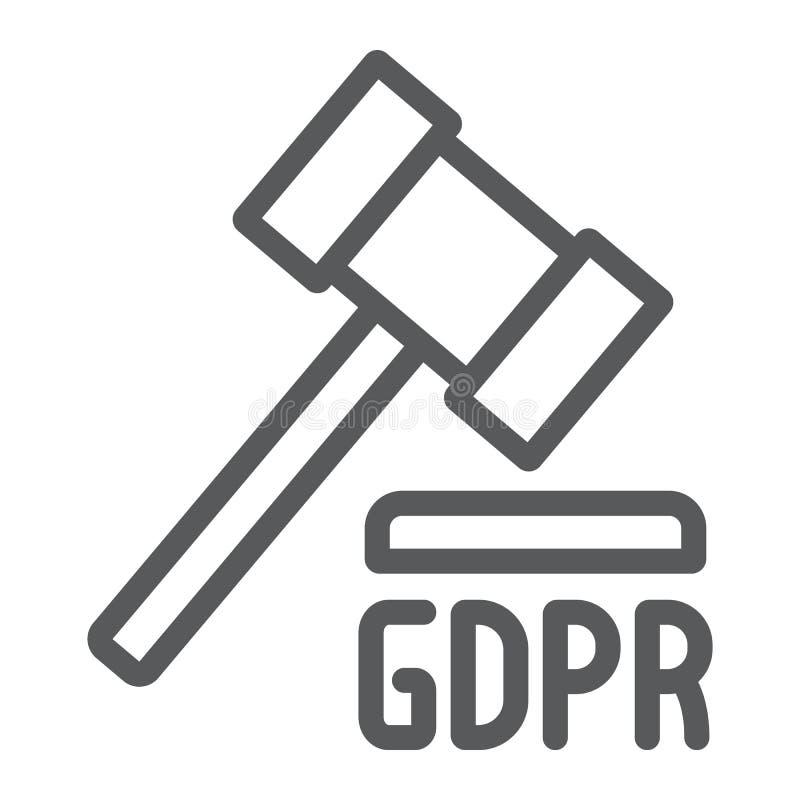 Линия значок молотка GDPR, личный и принуждение, знак закона, векторные г иллюстрация штока