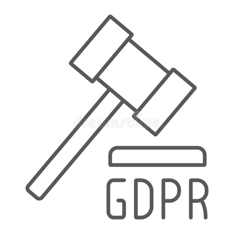 Линия значок молотка GDPR тонкая, личный и принуждение, знак закона, вект иллюстрация вектора