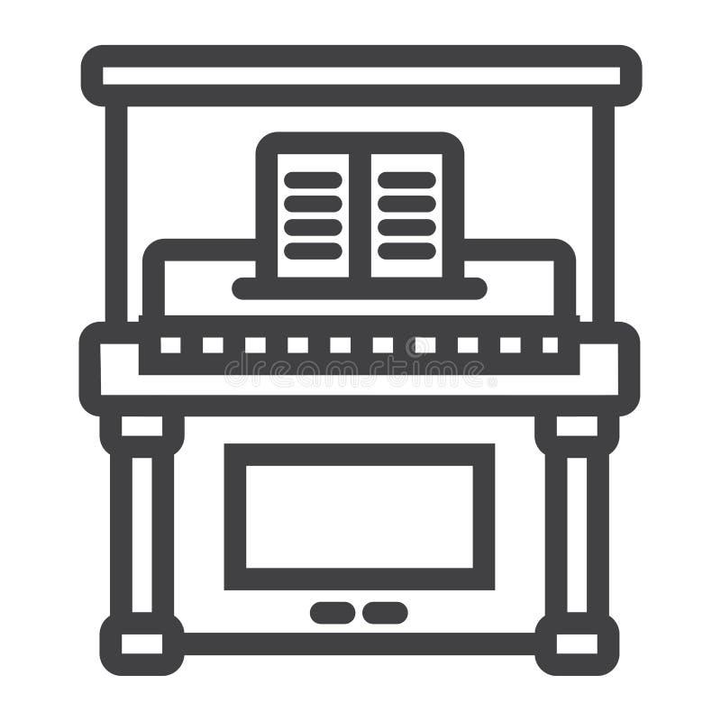 Линия значок, музыка и аппаратура рояля иллюстрация вектора