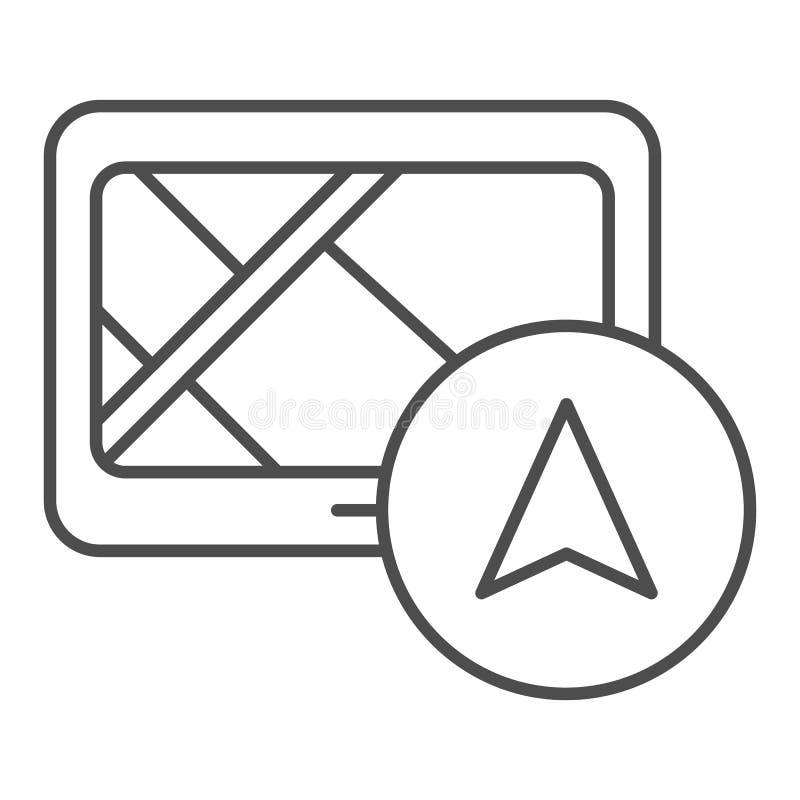 Линия значок навигатора планшета тонкая Иллюстрация вектора Gps изолированная на белизне Планшет с дизайном стиля плана навигации бесплатная иллюстрация