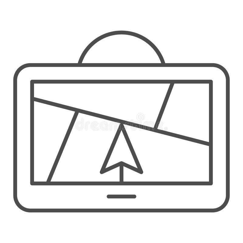 Линия значок навигатора GPS тонкая Спутниковая иллюстрация вектора gps изолированная на белизне Конструированный дизайн стиля пла иллюстрация вектора