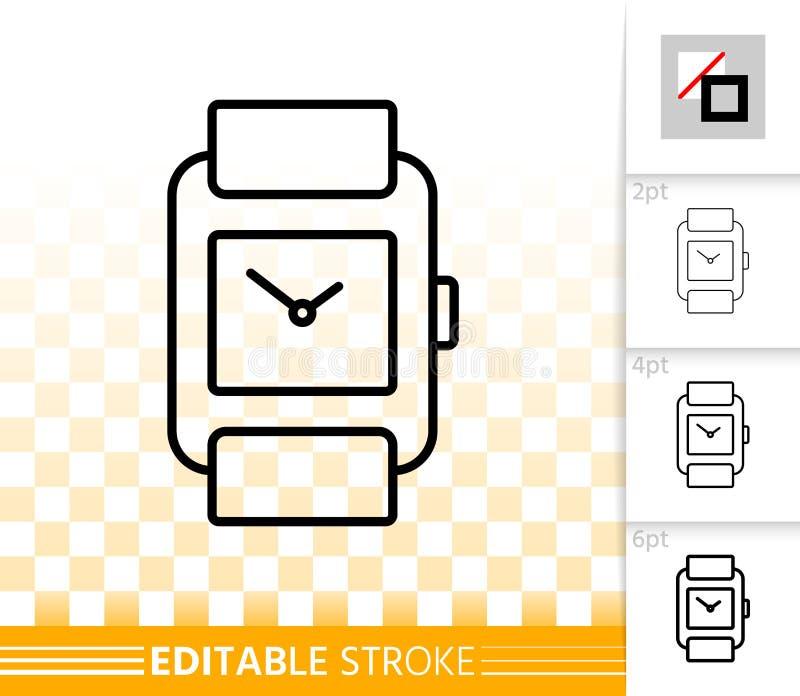 Линия значок наручных часов простая черная вектора иллюстрация штока