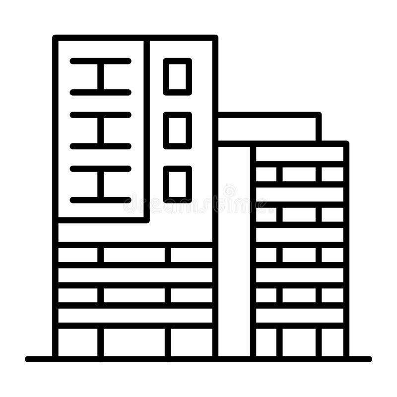 Линия значок 2 небоскребов тонкая 2 высотного здания с иллюстрацией вектора моста соединения изолированной на белизне афоризмов иллюстрация штока