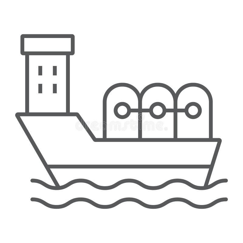 Линия значок нефтяного танкера тонкая, промышленный и шлюпка, знак корабля масла, векторные графики, линейная картина на белой пр иллюстрация штока