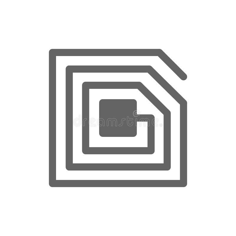 Линия значок обломока RFID иллюстрация вектора