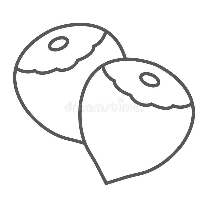 Линия значок, овощ и гайка фундука тонкая, иллюстрация штока