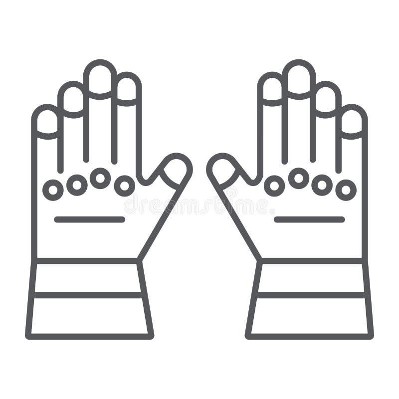 Линия значок, одежды и защита перчаток пожарного тонкая, резиновые перчатки подписывает, векторные графики, линейная картина на a бесплатная иллюстрация