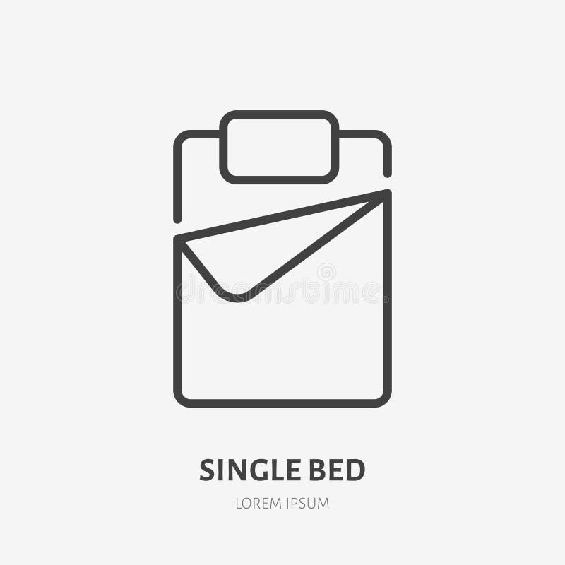 Линия значок односпальной кровати плоская Знак постельных принадлежностей Тонкий линейный логотип для внутреннего магазина иллюстрация вектора