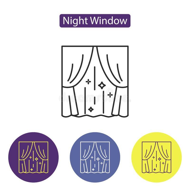 Линия значок окна ночи бесплатная иллюстрация
