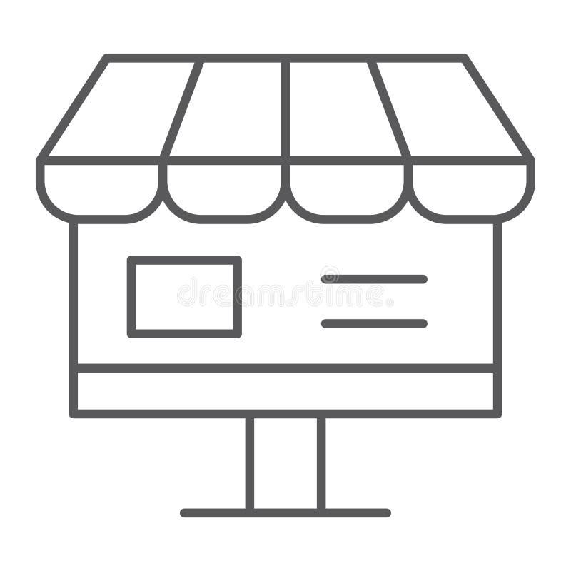 Линия значок онлайн магазина тонкая, интернет и покупки, онлайн знак магазина, векторные графики, линейная картина бесплатная иллюстрация