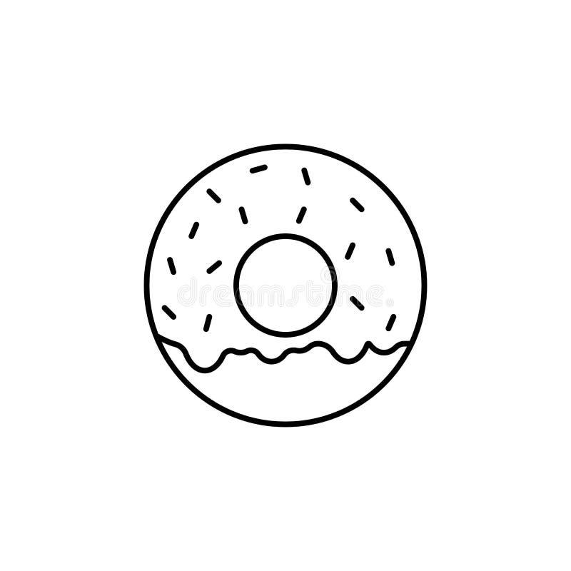 Линия значок донута, элементы питья еды бесплатная иллюстрация