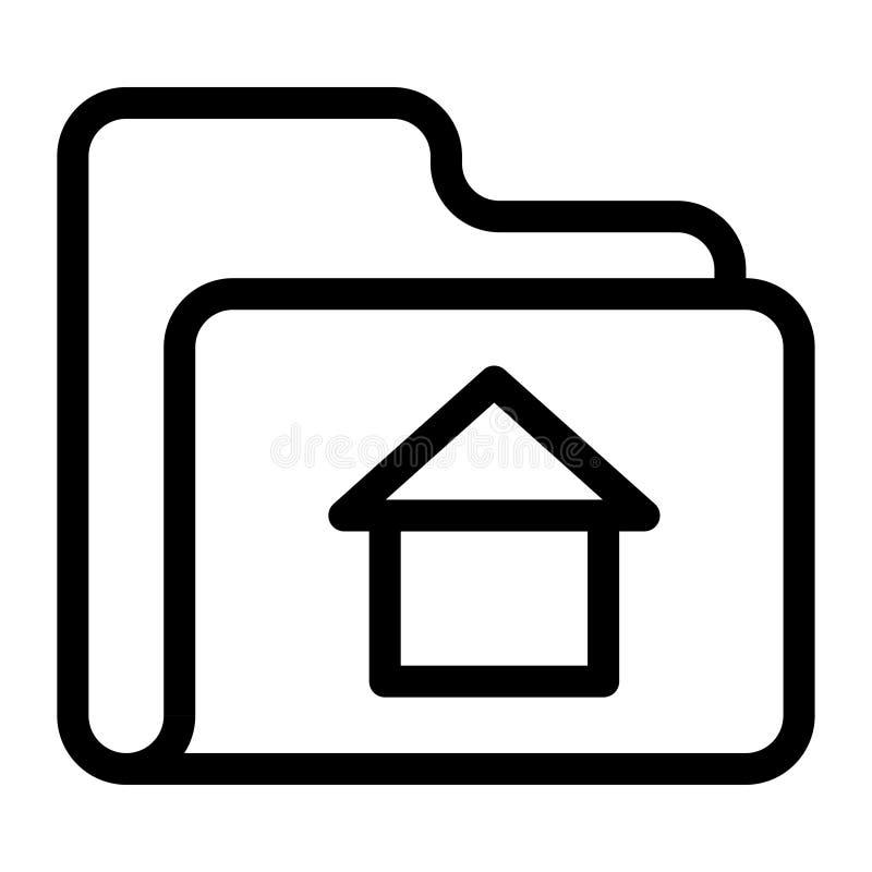 Линия значок папки домашняя бесплатная иллюстрация