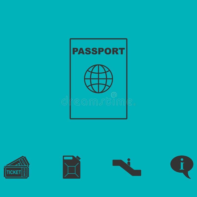 Линия значок паспорта плоско иллюстрация штока