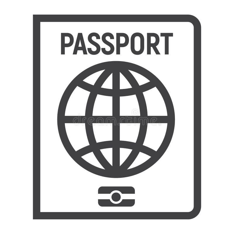 Линия значок, перемещение и подданство пасспорта иллюстрация штока