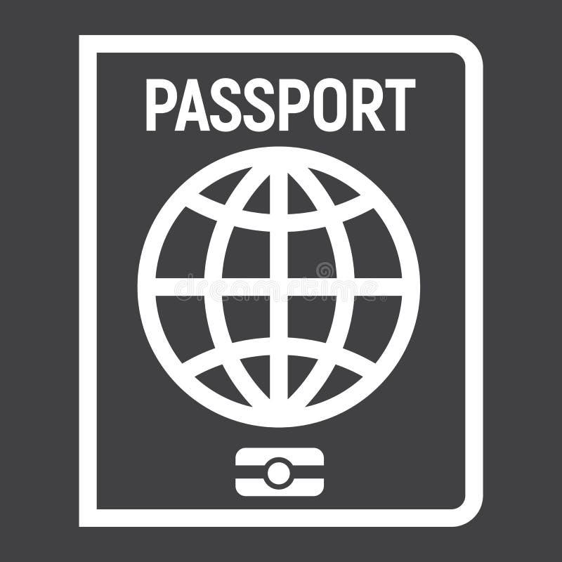 Линия значок, перемещение и подданство пасспорта иллюстрация вектора