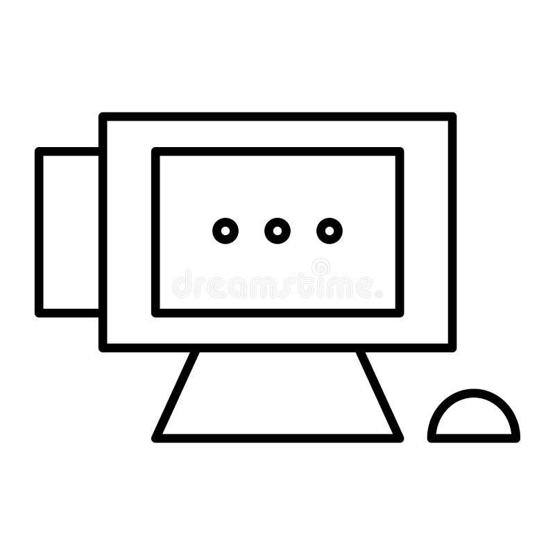 Линия значок ПК тонкая Монитор настольного компьютера, иллюстрация вектора мыши изолированная на белизне Конструированный дизайн  иллюстрация штока