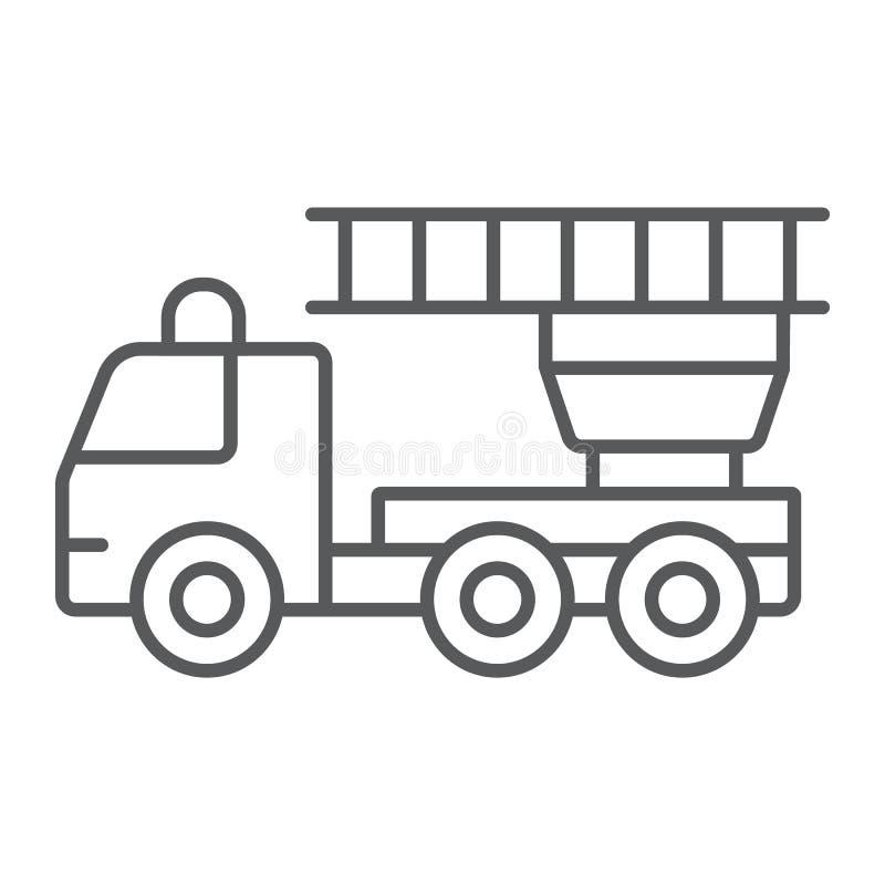 Линия значок пожарной машины тонкая, аварийная ситуация и огонь, знак пожарной машины, векторные графики, линейная картина на бел иллюстрация вектора