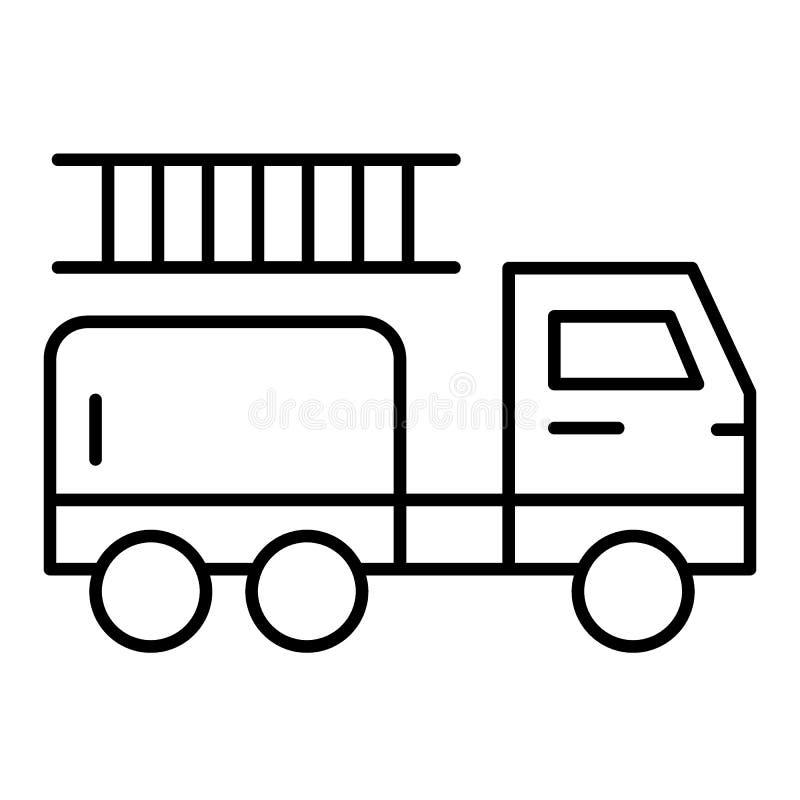 Линия значок пожарной машины тонкая Иллюстрация вектора автомобиля Firefighting изолированная на белизне Пожарная машина со стиле иллюстрация вектора