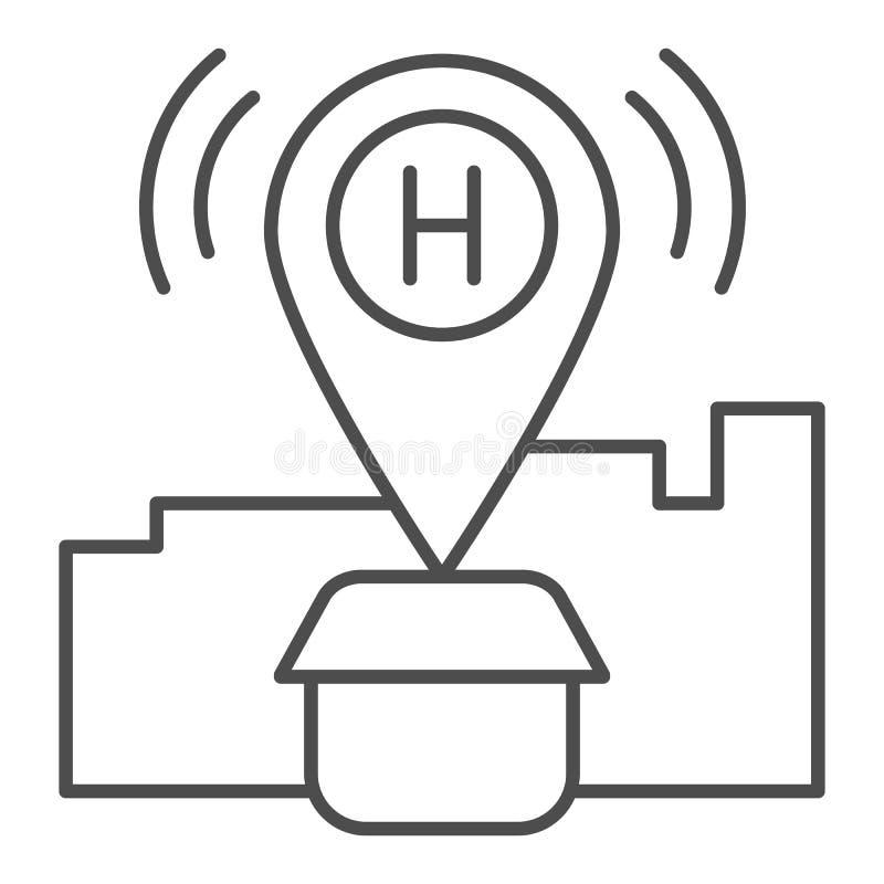 Линия значок положения гостиницы тонкая Штырь карты с иллюстрацией вектора дома изолированной на белизне Gps гостиницы конспектир иллюстрация вектора