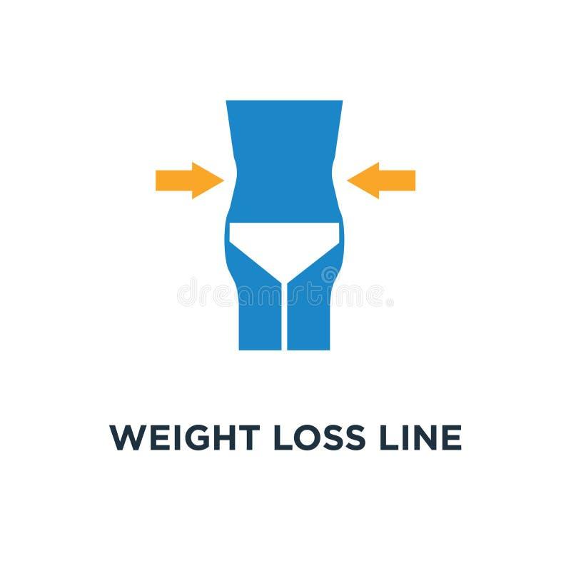 линия значок потери веса дизайн символа концепции фитнеса и спорта, тонкое тело с измеряя графиками знака ленты, здоровое питание иллюстрация вектора