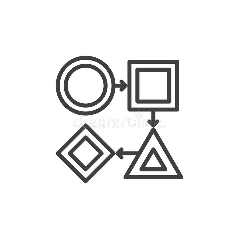 Линия значок потока операций, знак вектора плана, линейная пиктограмма стиля изолированная на белизне Символ, иллюстрация логотип бесплатная иллюстрация
