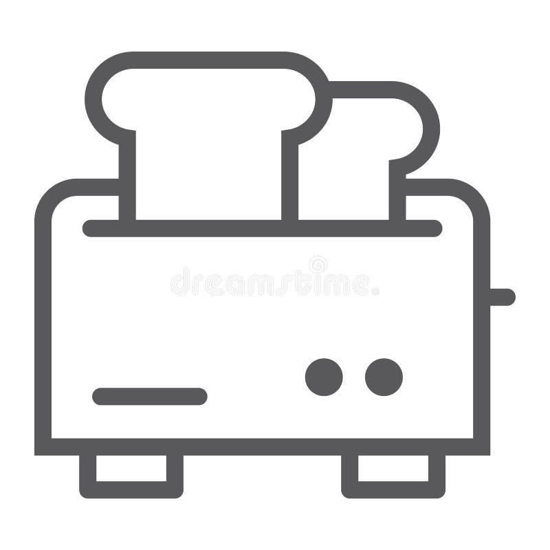 Линия значок, прибор и электрическое тостера, знак kitchenware, векторные графики, линейная картина на белой предпосылке иллюстрация вектора